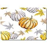 Tappetino da bagno antiscivolo,autunno arancione zucche grigio foglie bianche,Confortevole tappeto da bagno assorbente in peluche lavabile 75x45cm