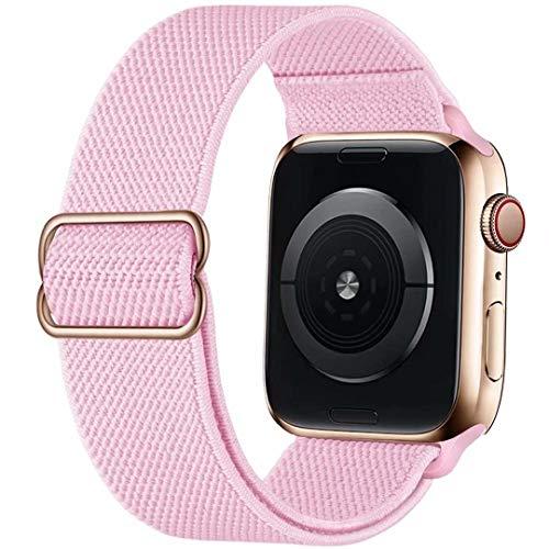 GBPOOT Correa de Compatible con Apple Watch 38mm 40mm 42mm 44mm,Correa Loop Deportiva con Nylon de Repuesto Compatible Iwatch Serie 6/SE/5/4/3/2/1,Rosa Puro,38/40mm