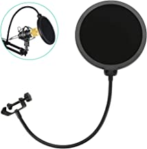 yiedenguk Microphone Pop Filter Double Layer Round Shape Mic Wind Mask Shield Screen Studio Microphone Pop Filter with 360 Degree Adjustable Flexible Gooseneck