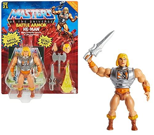 Masters of the Universe GVL76 - Origins Deluxe He-Man Actionfigur, ca. 14cm groß, Geschenk für 6- bis 10-Jährige und erwachsene Sammler