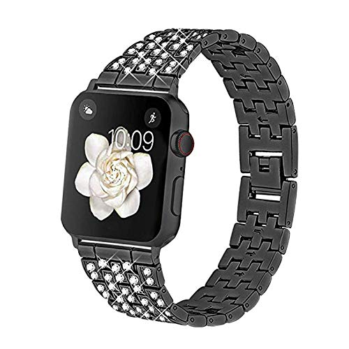 Metal Apple Watch Strap Compatible with iwatch Series 6/SE/5/4/3/2/1, Sport Strap for Apple Watch Stainless Steel Replacement Band Wristband Belt,D,38/40mm