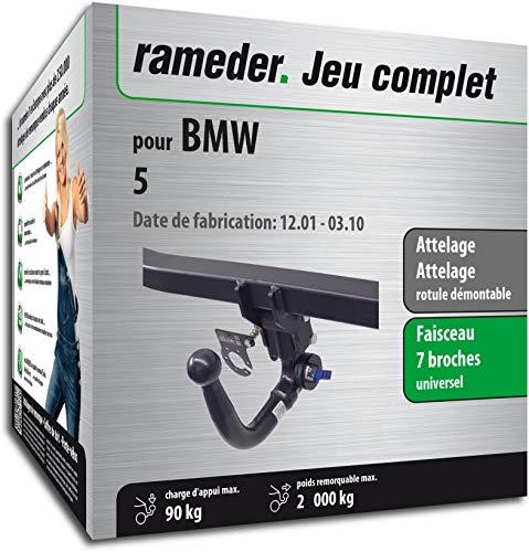 Rameder Pack, attelage rotule démontable + Faisceau 7 Broches Compatible avec BMW 5 (143469-04993-1-FR)