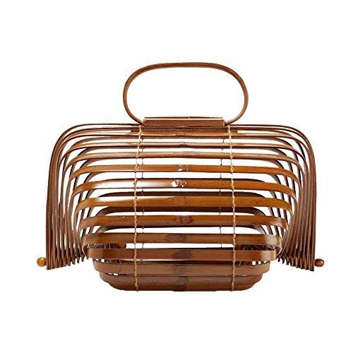 Dames handtas bamboe handtas handgemaakte zakken strandtassen shopper zomer strandtas modetrends bamboe strotas handgeweven tas Large bruin