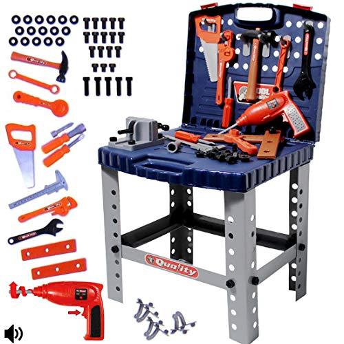 deAO Werkstatt und Werkzeug Carrycase Spielset Mechaniker Werkbank mit Klapp-Design beinhaltet mehrere Zubehör und Bohrmaschine