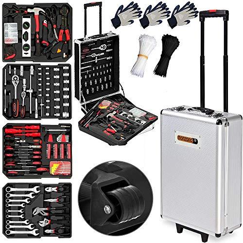 Monzana Werkzeugkoffer XXL gefüllt Set 899tlg Qualitätswerkzeug Werkzeugkasten Werkzeugkiste...