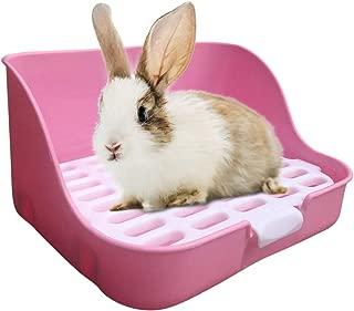 JM Lifestyle M Heavy Duty Square Bunny Litter Box Large Potty Trainer Corner Litter Bedding Box Pet Pan for Small Animal/Rabbit/Guinea