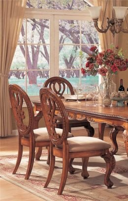 Poundex Dining Table - Traditional Style Cherry Brown Finish