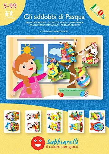 Sabbiarelli Sand-it for Fun - Album Gli addobbi di Pasqua: 5 Fogli Adesivi da Colorare con la Sabbia (Non Inclusa), Adatto per Adulti e Bambini Anni 5+