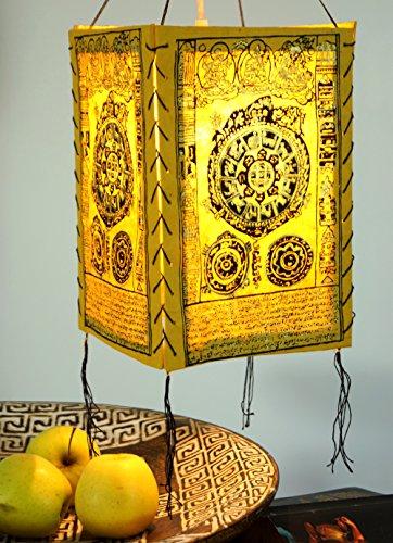 Guru-Shop Lokta Papier Hänge Lampenschirm, Deckenleuchte aus Handgeschöpftem Papier - Mandala Gelb, Lokta-Papier, 28x18x18 cm, Asiatische Deckenlampen aus Papier & Stoff