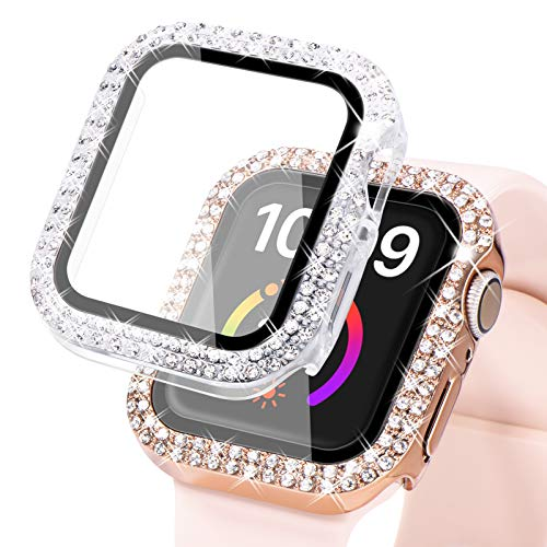 Wingle compatible for Apple watch case 38mm 40mm 42mm 44mm, Women shiny cover with Tempered Glass Screen Protector for iWatch SE Series 6/5/4/3/2/1, Rose Gold and Clear (For 40mm Only)