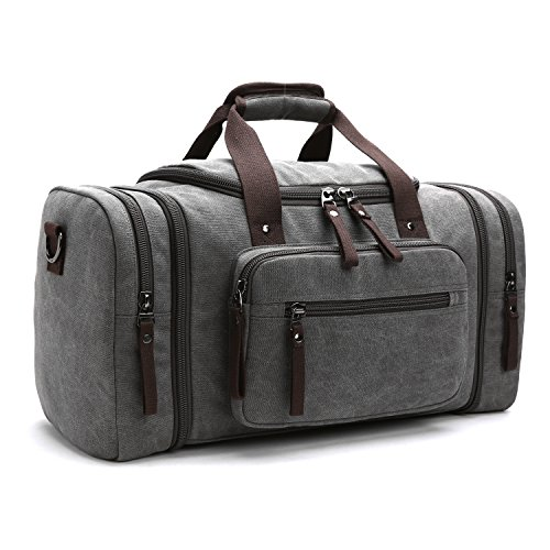 LOSMILE Large Travel Duffles,Holdall Travel Bags Weekend Bag Overnight Bag Carry On Luggage. (Grey)