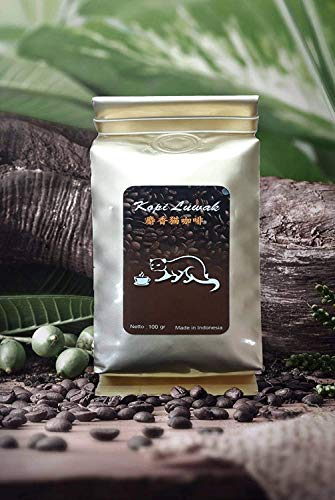 Authentic Luwak Coffee Bean ( Arabica Sumatra Aceh Gayo Beans 100%) produced from Indonesia, Whole Beans, Perfect Dark Roast, 100 grams (0.22 Lb).