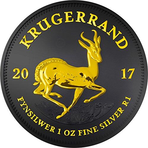 Power Coin KRUGERRAND Black Ruthenium 1 Oz Silber Münze 1 Rand South Africa 2017