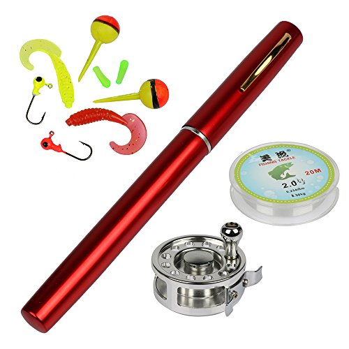 YOGAYET Mini Pocket Ice Fly Fishing Rod and Reel Combos Set Aluminum Alloy Pen Fishing Pole 38'' Sea Saltwater Freshwater Kit Red