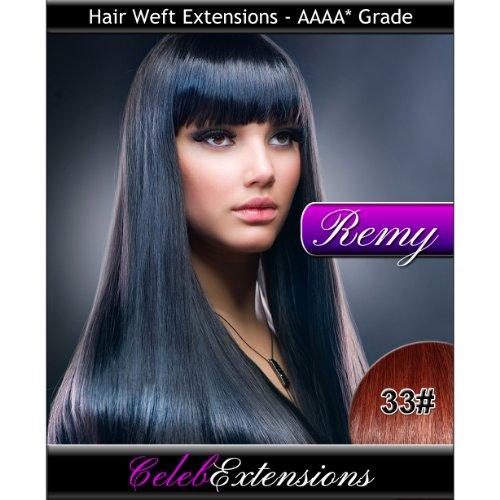 50,8 cm 33 # cuivre Indiens 100% humains Remy Hair Extensions capillaires Cheveux. Tissage Silky droit 6 m Poids : 100 g AAAA de grande qualité. Qualité. Par celebextensions