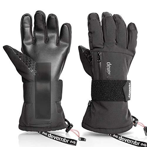 devembr Skihandschuhe Herren&Damen, wasserdichte Snowboard-Handschuhe mit abnehmbaren Handgelenkschutz&3M Thinsulate Insulation,Schneehandschuhe mit langlebigem PU-Material,Touchscreen (Schwarz,M)