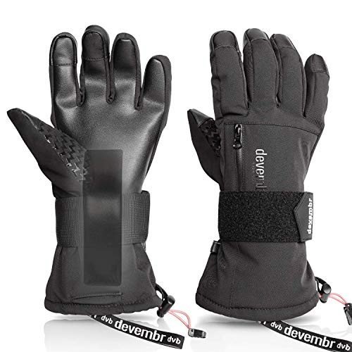 Ski Gloves Men&Women,devembr Snowboard Gloves 3M Thinsulate Insulation(Black,S)