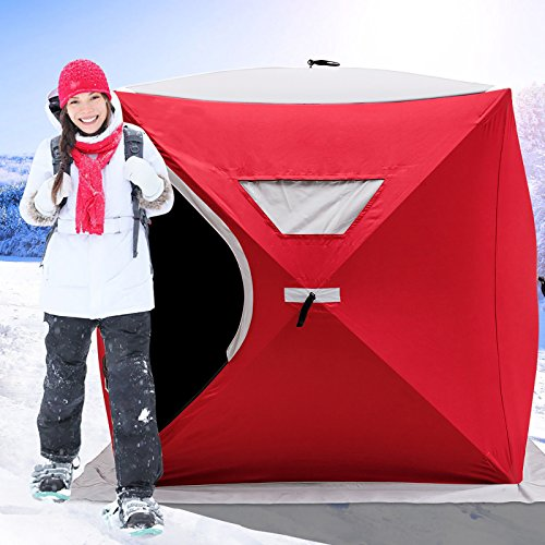 Happybuy Ice Fishing Shelter 2 3 4 8 Person Pop-up Ice Fishing Shelter Waterproof Portable Ice Tent for Outdoor Fishing (Red for 2 Person)