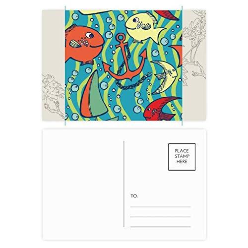DIYthinker Navigatie Vis Boot Kleurrijke Oceaan Bloem Postkaart Set Thanks Card Mailing Side 20 stks 5.7 inch x 3.8 inch Multi kleuren