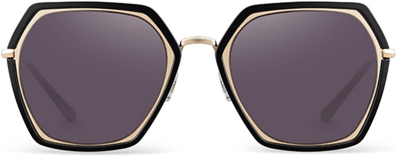 GAOYANG Ms. Bright Sunglasses Personality Trendy Sunglasses Geometry Street Big Box ( color   Black box+mercury film )
