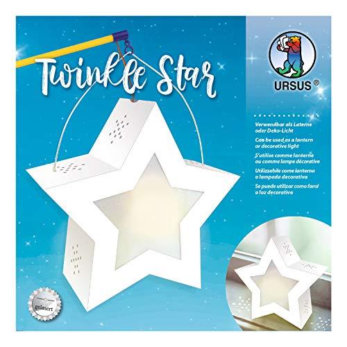 URSUS 18770002 Twinkle Star, weiß, ca. 19,3 x 18,3 x 8 cm, Laternen-Rohling Fotokarton 300 gelasert und genutet, 2 Sterne aus Transparentpapier 115 g/m², Laternentragebügel, 19,3 x 18,3 cm
