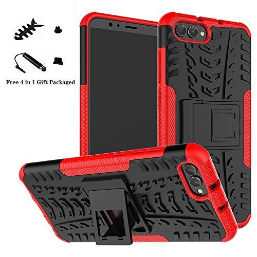 LiuShan Honor View 10 Hülle, Dual Layer Hybrid Handyhülle Drop Resistance Handys Schutz Hülle mit Ständer für Huawei Honor View 10 Smartphone (mit 4in1 Geschenk verpackt),Rot