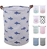Cesta de lavandería plegable de 50 cm de SeaFOWL, impermeable, redonda, grande, cesta de ropa con asas, bonita cesta de ropa para niños de dibujos animados, regalo de bebé (tiburón)
