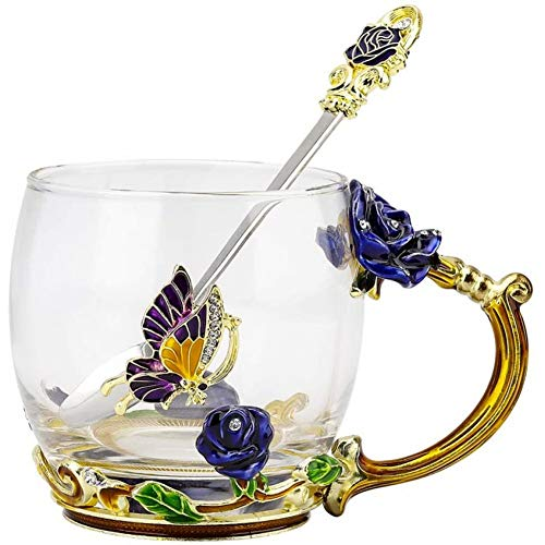 MLDFS Taza de cristal esmaltada con rosas y mariposas, con asa, para café, café, expreso, agua, zumo, té, bebidas calientes, leche, etc.