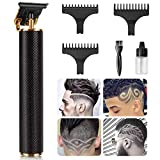 GENWEI Hair Clippers for Men, Professional Cordless Outliner Hair Trimmer, Electric Pro T-Blade Trimmer (Black gold)