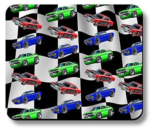 Computer Mouse Pad Art Print Muscle Car Checkered Flag Design Pattern Non-Slip 9.25 x 7.75 x 1/8 in Thick