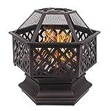 Outdoor 22' Hex Shaped Fire Pit Wood Burning w/Flame-Retardant Mesh Lid Fireplace Patio Backyard Steel Firepit Bowl Heater