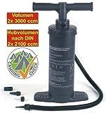 Handliche Doppelhubpumpe mit großem Hub-Volumen (Handluftpumpe zum schnellen Aufpumpen von z.B. Matratzen, Luftbetten, Gummibooten, Schwimmingpools oder Gummibällen)