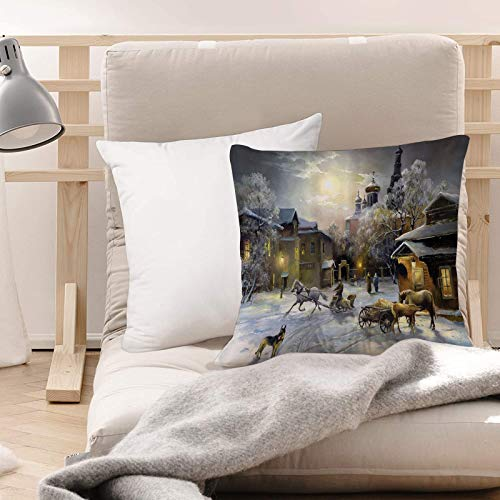 Cushion Covers (45 x 45 cm) - Polyester,Country Set,Winter Landscape of a Western Town at Night in New World ,Soft & Smooth, Washable, Square Decorative Large Throw Pillow Case for Couch,Chair, Home