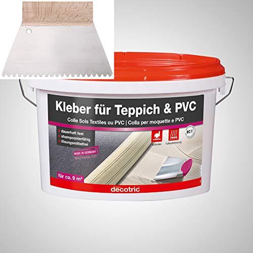 BODENMEISTER Teppich Kleber Dispersionskleber 3kg Kleber, Zahnspachtel Teppichboden und Vinylboden kleben