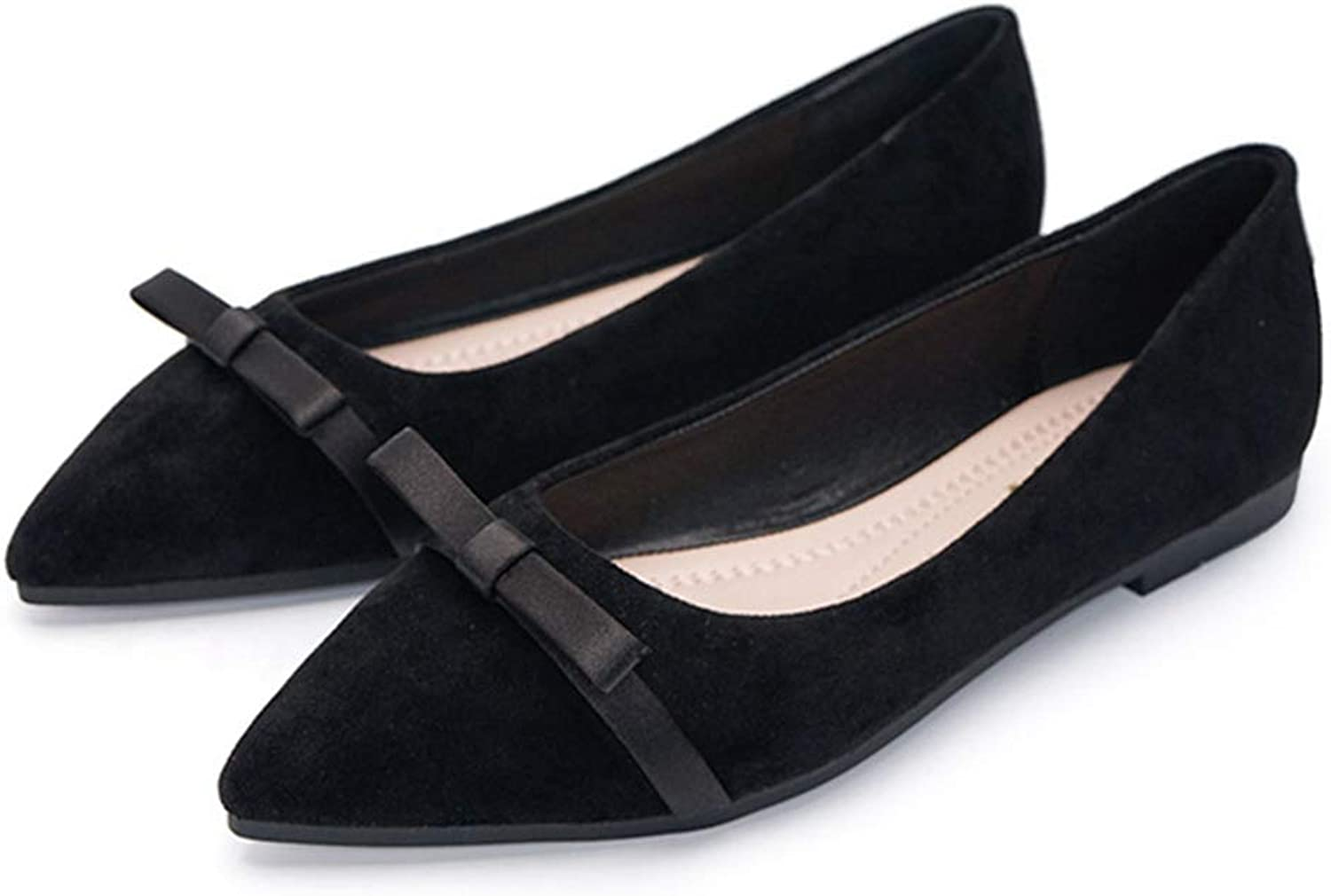 Drew Toby Women's Daily Flats, Bow-Knot Casual Comfortable Suede Ladies shoes