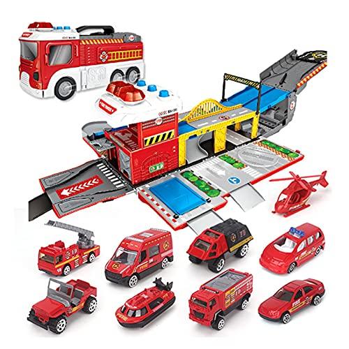 Gran camión de bomberos ensamblaje de juguete coches de bomberos estacionamiento de camiones de bomberos DIY Building Car Vehículos Ciudad de Ciudad Conjuntos de pistas de Luz / Sound Pistas Modelos d