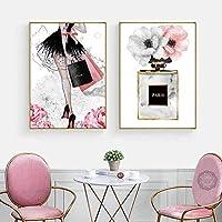 ファッションガールパリ香水花ハイヒールノルディックポスターとプリント壁アートキャンバス絵画装飾写真リビングルーム/ 50x70cmx2個-フレームなし