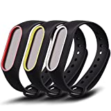 Awinner Colorful Waterproof Replacement Bands Compatible for Xiaomi Mi Band 2 Smart Miband 2nd (No Activity Tracker) (3-Black)