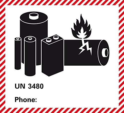 etiketten voor gevaarlijke goederen - transportsticker - klasse UN 3480 - lithium-ion batterijen - zonder telefoonnummer - om zelf te bedrukken/op te plakken - aantal vrij te kiezen - 120 x 110 mm - zelfklevende papieren sticker