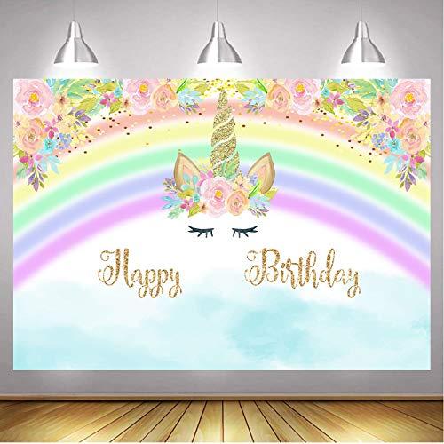 Sakurar Telón de fondo de unicornio feliz cumpleaños para niños fiesta de cumpleaños Rainbow Pink Floral Foto telones de fondo de unicornio temático paties decoración fondo 7 x 5 pies
