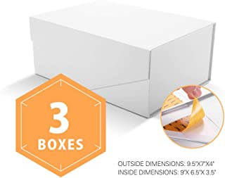 PACKHOME Gift Boxes Rectangular 9.5x7x4 Inches, Bridesmaid Boxes Rectangle Collapsible Boxes with Magnetic Lids for Gift Packaging (Matte White with Embossing, 3 Boxes)