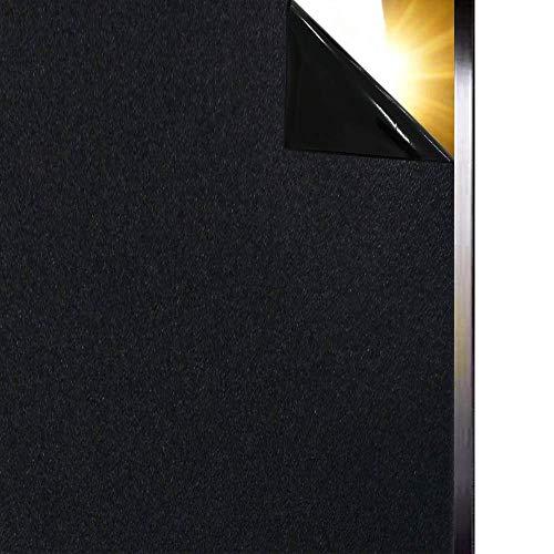 Qualsen Fenster Sichtschutzfolie schwarz fensterfolie schtschutz selbstklebend Blickdicht Verdunkelungsfolie mit Anti-UV 44.3 x 200cm
