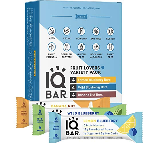 IQBAR Brain + Body Protein Bars, Fruit Lovers Variety, Keto, Vegan, Paleo Friendly, Low Sugar, Low Net Carb, High Fiber, Gluten Free, No Sugar Alcohols, 12 Count