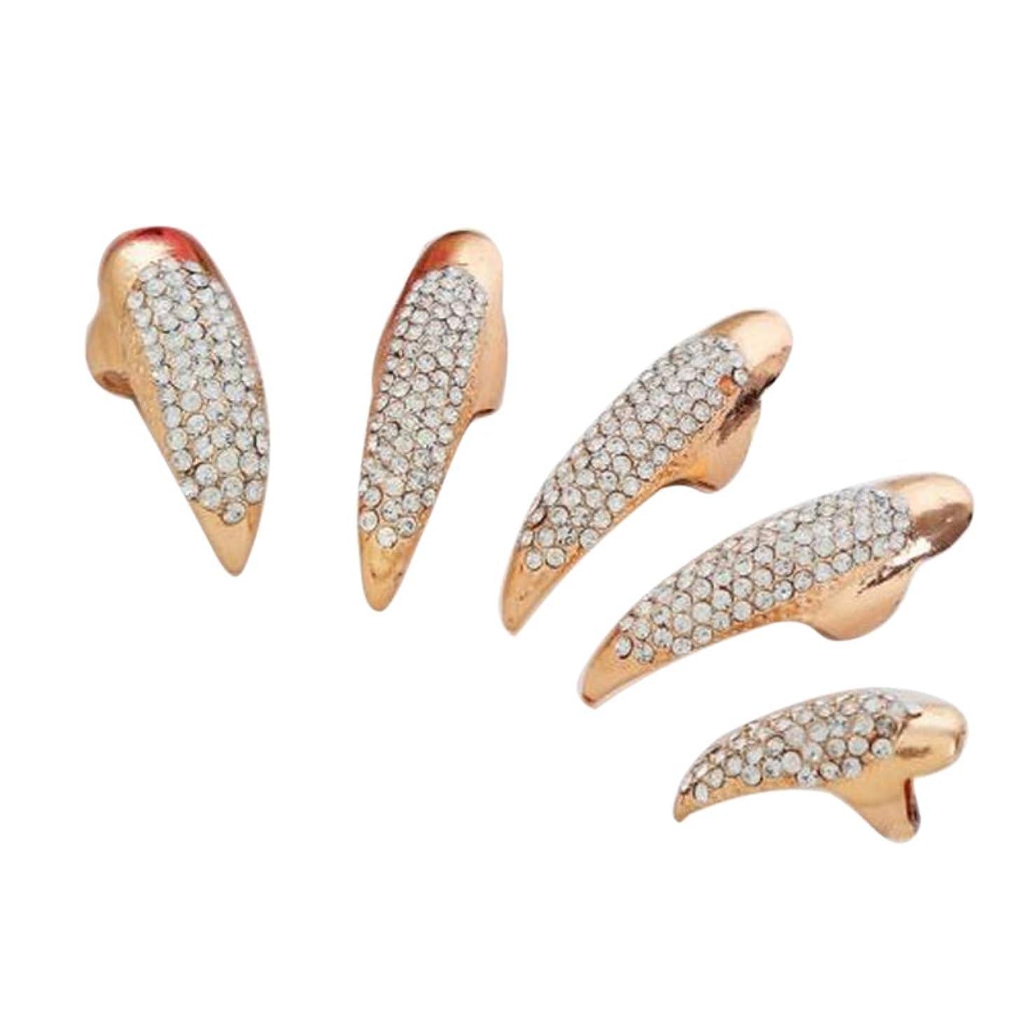 緯度コンパス順応性のあるSharplace 爪リング ネイルチップ ネイルアート 人工の爪 曲げ爪 コスプレ パーティー 2色選べ - ゴールデン