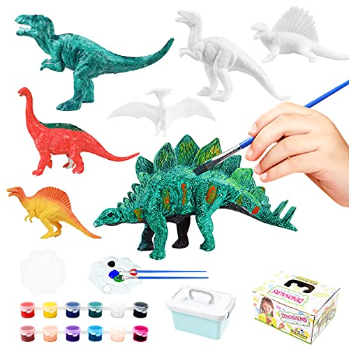 WOT I Dinosaur painting kit,Paint Your Own 3D Dinosaur Toys,Arts and Crafts for Kids Birthday for Boys Girls Age 3 4 5 6 7 8