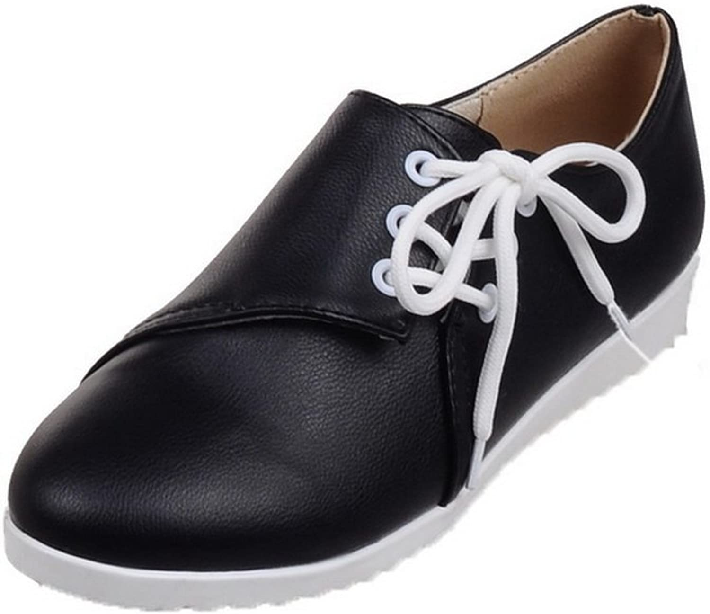 AllhqFashion Women's PU Low-Heels Round-Toe Solid Lace-Up Pumps-shoes