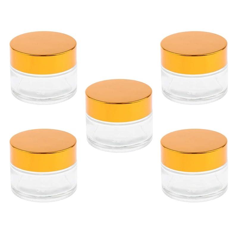 無駄なピストル規定FLAMEER 5個 アルミキャップ ガラス メイクアップボトル クリーム リップバーム ジャー 5サイズ選べ - 20g
