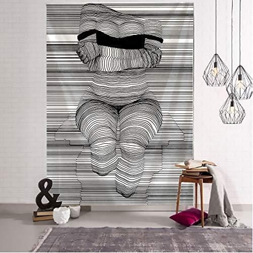 WERT Línea Creativa Tapiz de Pintura Colgante de Pared Boho Tapiz de Pared psicodélico Tapiz de Pared Abstracto Tapiz A23 130x150cm