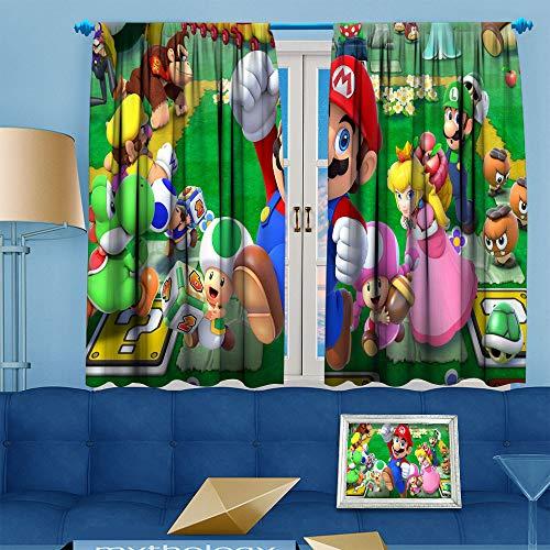 DILITECK Schlafzimmer-Dekor, Verdunkelungsvorhang, 3D-Super-Mario-Wärmedämmung, Aufdruck, Wohnzimmer-Dekor, Verdunkelungs-Töne, 160 x 114 cm, Mario, Kröte, Prinzessin Pfirsich