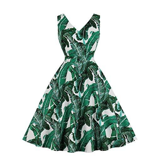 MXN Summer V -Cut Sleeveless Sheet Printing Women Retro Dress Cotton Rockabilly Swing Vintage Dress 60 S 50 S Tunika Vestidos M1962E-S Green